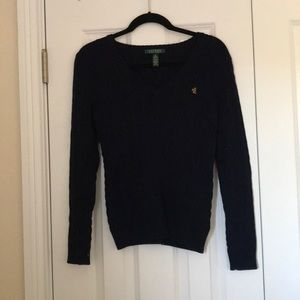 Navy Cable Knit V-Neck Sweater | Ralph Lauren